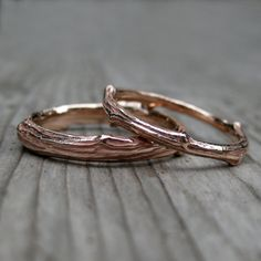 Twig Wedding Band Set  Rose Yellow or White Gold  by KristinCoffin, $1060.00