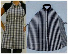 Стильный фартук из мужской рубашки. Легко и просто.