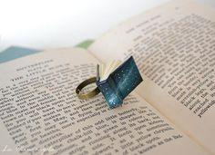 Miniature Galaxy Blue Book Ring.  Space Universe book jewelry. Miniature Galaxy Blue Book Ring. Space Universe book jewelry #books #miniature #bookjewelry #rings #xmasgifts #xmas #galaxy #bookring #bookart #etsy #etsyjewelry #minibook #tinybook #universe #lamandragola