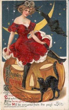 vintage-halloween-sexy-woman-pumpkin-black-cat-bat-card.jpg (300×480)
