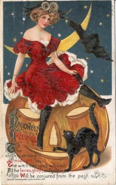 "Victorian Postcard--Note the spelling of Hallow'een. I love the wording on this one. ""The clock is striking midnight. The witch her spell will cast, all the fairies, ghosts and goblins. Will be conjured from the past."