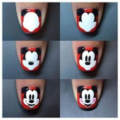Steps to draw Mickey nails. Ongles Mickey Mouse, Mickey Mouse Nail Design, Mickey Nails, Minnie Mouse Nails, Nail Art Designs, Pretty Nail Designs, Nails Design, Trendy Nail Art, Cool Nail Art