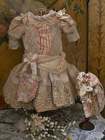 Marvelous French Bebe Silk Costume with Bonnet SOLD #dollshopsunited