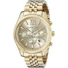 7067e2064723 Michael Kors Men s Lexington Gold-Tone Chronograph Watch
