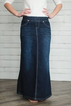 'Leah' Dark Wash Long Denim Skirt