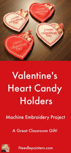 Embroidery Designs Make some Machine Embroidered Heart Candy Holders with a pattern by Embroidery Garden. These are great gifts for classroom parties. - Machine Embroidered Heart Candy Holders from a pattern by Embroidery Garden Machine Embroidery Gifts, Learn Embroidery, Hand Embroidery Patterns, Machine Embroidery Designs, Embroidery Stitches, Embroidery Tattoo, Felt Embroidery, Vintage Embroidery, My Funny Valentine