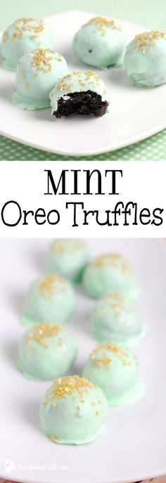Mint Oreo Truffles Recipe - an easy mint chocolate dessert recipe idea, just like your classic Oreo truffles, with added minty flavor for a festive twist.  So pretty but so easy!