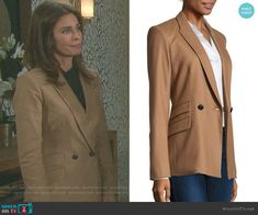 Hope's beige double breasted blazer on Days of our Lives.  Outfit Details: https://wornontv.net/95489/ #DaysofourLives