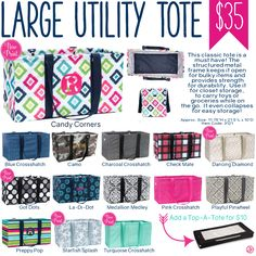 Thirty-One Large Utility Tote - Spring/Summer 2017