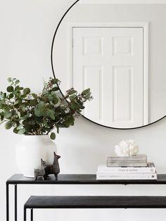 Black Round Mirror - Seconds Black Round Mirror – Hudson Home Entryway Mirror, Entryway Decor, Wall Mirror, Mirror Room, Round Bathroom Mirror, Mirror Hanging, Entrance Decor, Black Round Mirror, Round Mirrors