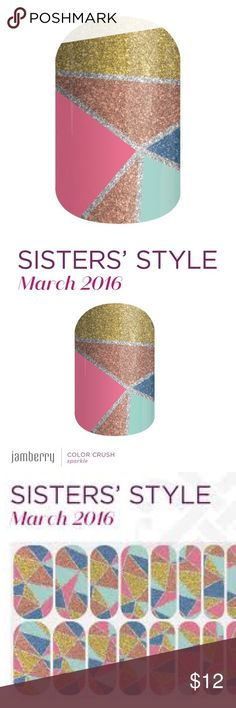 HALF SHEET Jamberry March 2016 Color Crush SSE HALF SHEET Jamberry Vinyl Nail Wraps March 2016 Color Crush Sister's Style Exclusive SSE. Rare, retired. Multicolor sparkle mosaic print wraps, colorful and sparkly! 10% bundle discount on 2 or more items 😘 Jamberry Accessories