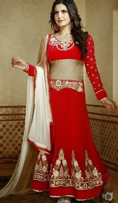#StitchedSuits - Red Embroidered Semi Stitched Floor Length Anarkali Suit Costs Rs. 1,900. #Apparels. BUY it here: http://www.artisangilt.com/red-embroidered-semi-stitched-floor-length-anarkali-suit-70461.html?ref=pin