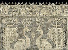 Buratto Lace. Italian. Needle-woven on gauze weave.