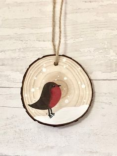 Items similar to Red Robin Rustic Wood Slice Bauble Ornament - Christmas Log Decoration on Etsy : Red Robin Wood Slice Ornament Christmas Log, Christmas Ornament Crafts, Wood Ornaments, Christmas Crafts, Diy Christmas Baubles, Cardinal Ornaments, Ornaments Ideas, Christmas Fireplace, Art Floral Noel