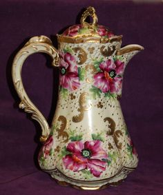 Image detail for -Ornate Unmarked Nippon Pottery Floral Chocolate Pot from ...