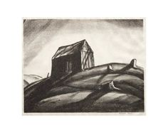 Lone Cabin By Rockwell Kent Rockwell Kent, Auction, Museum, Cabin, Graphics, Sculpture, American, Gallery, Drawings