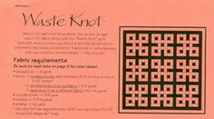 Waste Knot Quilt