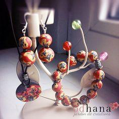 Bijoux en fimo : parure & boucles d'oreilles - Od'hana