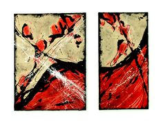 """""""Rot / Red"""" Acryl on canvas 50 x 80 cm and 30 x 80 cm Painting Canvas, Abstract Art, Artwork, Red, Abstract, Kunst, Pictures, Work Of Art, Auguste Rodin Artwork"""
