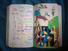 My wreck this journal - hang this page for people to write on - I have nowhere to do this so have signed disney characters and made a pic of all of them - to be finished