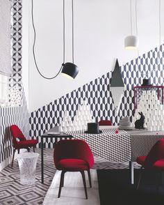 Dining room | Geometric pattern | Monochrome decorating | Circus inspiration | Flos lights | Pops of red | Modern | Livingetc