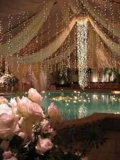 I like the fabric and the strand of lights above the pool. I might prefer to do horizontal as apposed to vertical lights