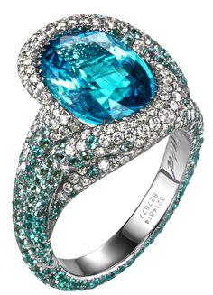 Paraiba tourmaline surrounded by colorless diamond and paraiba tourmaline pave - Chopard