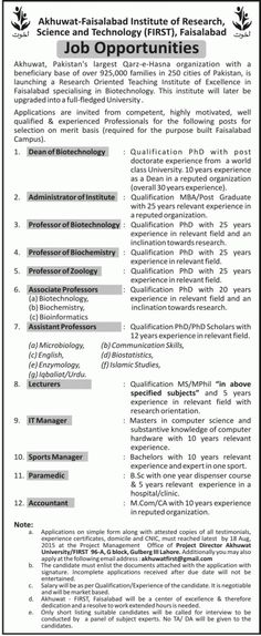 Title:  Jobs for Dean, Administrator, Professor,Associate Professor, Assistant Professoe, Lecturer, Sports Manager, Paramedic, Accountant