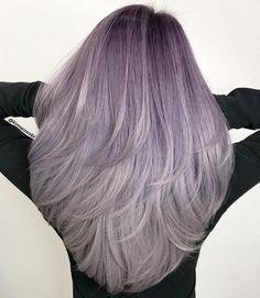 Platinum Silver Hair Color, Silver Purple Hair, Deep Purple Hair, Silver Blonde, Ombre Hair Color, Silver Ombre, Hair Color Ash Grey, Silver Hair Toner, Gray Hair
