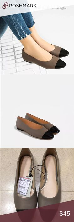 Zara two toned leather flats BRAND NEW Zara Shoes