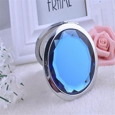 Fashion Pretty Women Ladies Girls Portable Stainless Steel Created Crystal Compact Mirror Cosmetic Makeup Tool