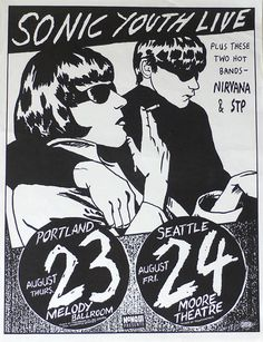 sonic youth music gig posters | Nirvana – Sonic Youth – STP – Seattle Concert Poster by Raymond ...