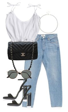 """""""Untitled #4230"""" by theeuropeancloset on Polyvore featuring AGOLDE, Chanel, Ray-Ban, Topshop and Sole Society"""