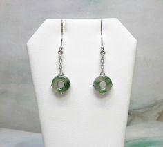 Green color jade earrings, jade earrings, silver jade dangling earrings , silver jade earrings