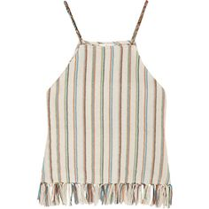 Miguelina Paloma fringed striped cotton-blend top ($235) ❤ liked on Polyvore featuring tops, tank tops, fringe top, pink tops, pink striped top, beach tops and cream top