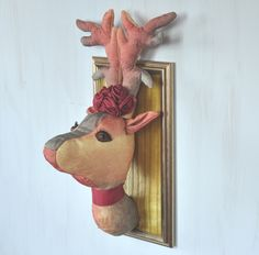 Textile deer head trophy with wooden frame, cotton, handmade, animal portrait, taxidermy, fauxidermy, soft sculpture, yellow red gold, OOAK - pinned by pin4etsy.com