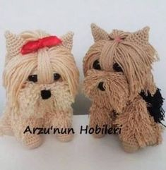 You will love this Free Crochet Yorkie Dog Pattern and we have a Video Tutorial. Check out all the adorable versions. Crochet Gratis, Cute Crochet, Crochet Yarn, Crochet Toys, Crochet Dog Patterns, Amigurumi Patterns, Granny Dolls, Yorkie Dogs, Stuffed Animal Patterns