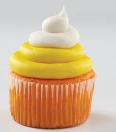 YUM! Make these delicious Halloween Candy Corn Cupcakes for a Halloween Party   Find the Candy Corn Cupcake Recipe from @joannstores