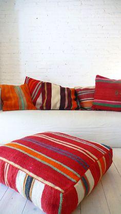 "* moroccan style * Image of Moroccan Kilim pouf - ""Stripe"" Moroccan Design, Moroccan Decor, Moroccan Style, Moroccan Pouf, Textiles, Kilim Pillows, Throw Pillows, Floor Cushions, Boho Cushions"