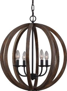Murray Feiss F2935/4WOW/AF Murray Feiss F2935/4 Allier 4 Light 1 Tier Chandelier, Weather Oak Wood / Antique Forged Iron Feiss (459)