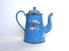 retro french coffee pots | Antique French Enamelware Coffee Pot - Handpainted Floral Designs from ...
