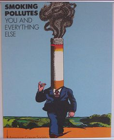 VTG MILTON GLASER 1973 POSTER: SMOKING POLLUTES YOU and EVERYTHING ELSE Push Pin #PUSHPINSTUDIO