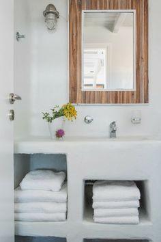 charming house rental in mykonos Charming House, Mykonos, Bathroom, Mirror, Frame, Resorts, Furniture, Home Decor, Bathrooms