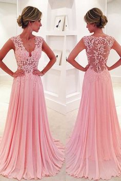 A-line V-neck Sweep Train Pink Chiffon Prom Dress with Lace