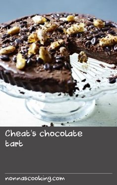 Cheat's chocolate tart  |      The pastry is the only part of this rich, chocolate tart that needs baking, making it perfect to prepare ahead for a dinner party. Equiopment and preparation: for this recipe you will need a 36x12cm/14x4½in rectangular tart tin or a 23cm/9in round tart tin.