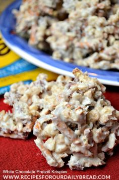White Chocolate Pretzel Krispies - This is a quick and easy candy recipe with White Chocolate, Pretzels, Rice Krispies, and pecans.  YUMMY!!!  http://recipesforourdailybread.com/2013/12/12/white-chocolate-pretzel-krispies/ #candy #Christmas #chocolate