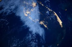 Florida under full moon by AstroButch. Thin Gulf cloud veil, Miami shines bright, and the keys trail into night