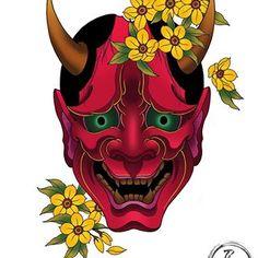 japanese tattoos and what they mean Japanese Mask, Japanese Tattoo Art, Japanese Sleeve, Japanese Warrior, Hannya Mask Tattoo, Hanya Tattoo, Mascara Oni, Chinese Tattoo Designs, Sketchy Tattoo