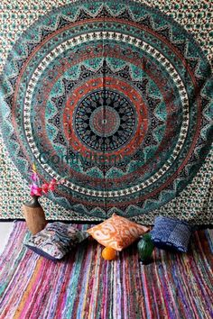 here online indian printed cotton star mandala Tapestry Available at Handicrunch