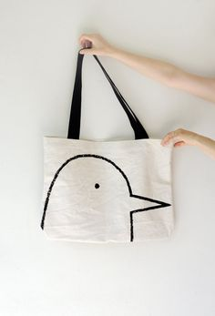 Back to School Bird Tote Bag - screen printed, canvas bag, original drawing, bird lover, eco friendly